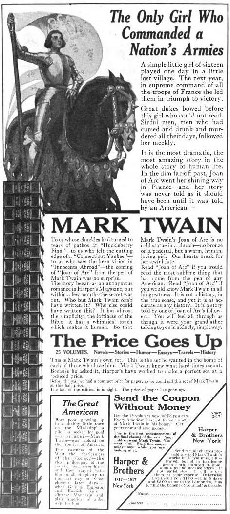 1917MarkTwainBookAd