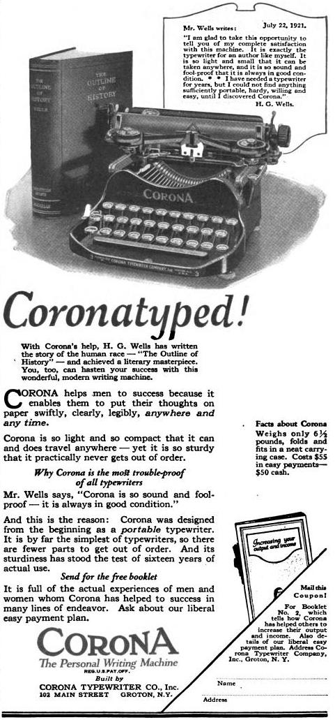 HGWellsCoronatype1922